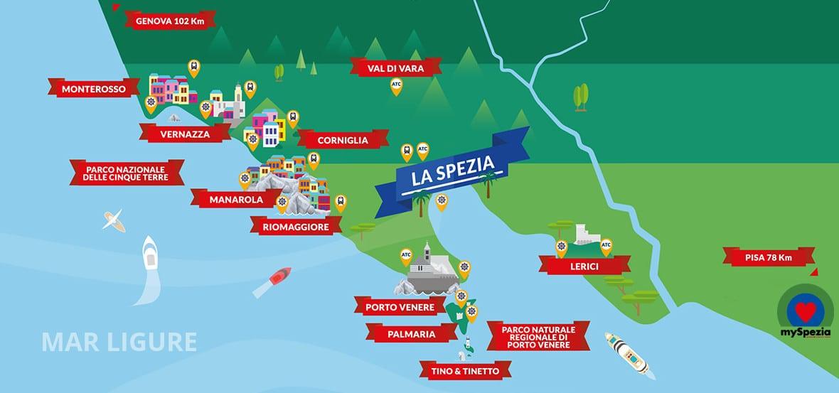 Cartina 5 Terre E Dintorni.Tour Liguria Viaggi Organizzati Alle Cinque Terre E A La Spezia